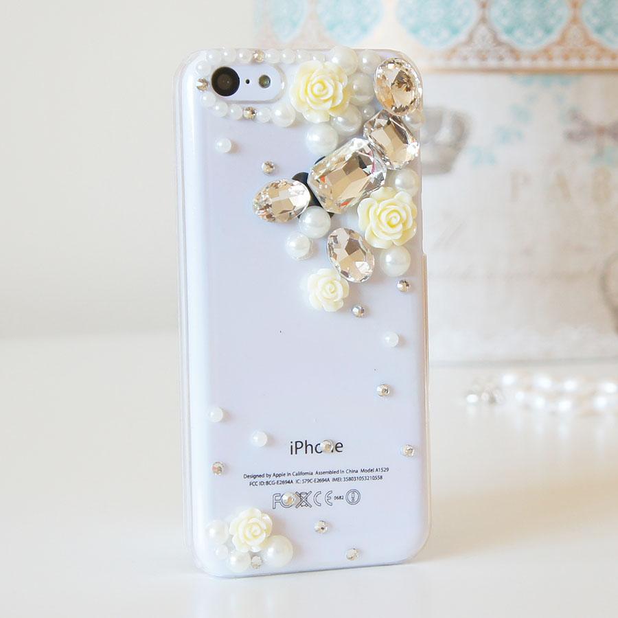 218de2fea Details about 3D Flower Luxury Bling Gem Diamond Crystal Case Cover For  iPhone 5C